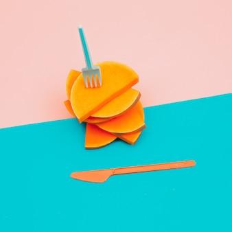 Stukken van raw pumpkin vegan minimal art