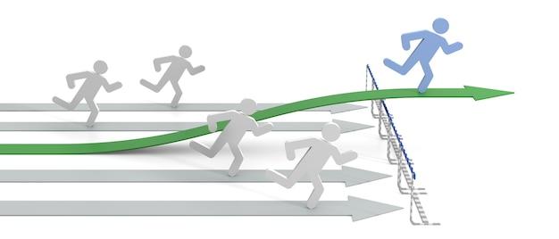 Succes in zaken met legale beweging - conceptueel 3d-beeld met pijl en obstakels