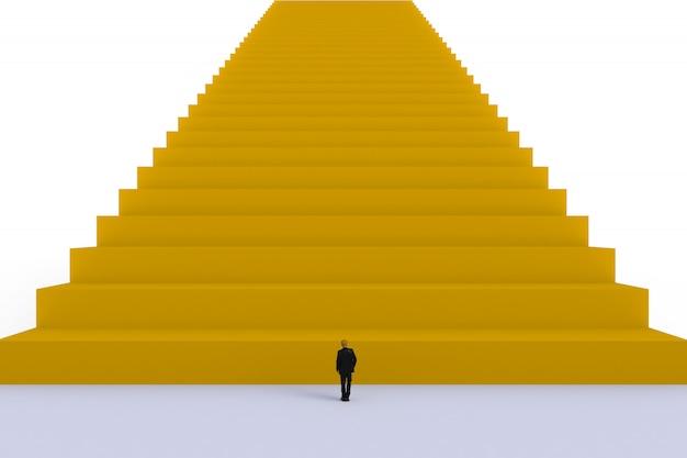 Succesconcept met zakenman, beeld van miniatuurzakenman status
