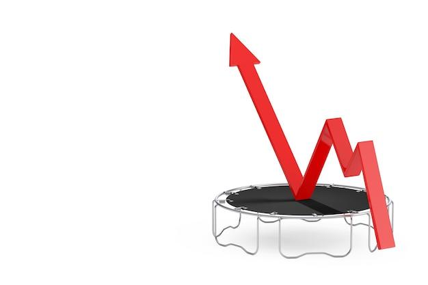Succesconcept. zakelijke groei rode pijl boost krijgen met sprongen op trampoline op een witte achtergrond. 3d-rendering
