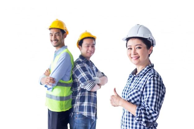 Succesgroep van ingenieursteam op isolate achtergrond, wit, binnen
