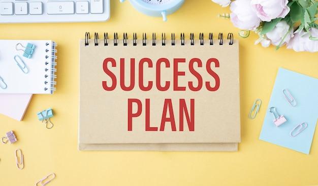Succesplan-tekst is geschreven op een geel kantoorbord.