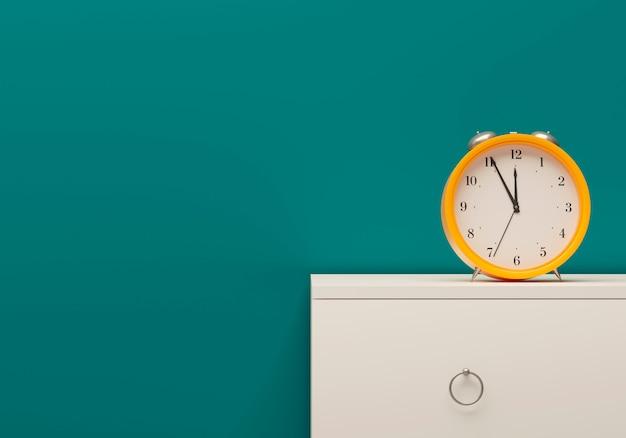 Succesvol bedrijfselement. tijdbeheer mockup-sjabloon gele wekker kamer zee kleur muur wit meubilair nachtkastje. 3d illustratie