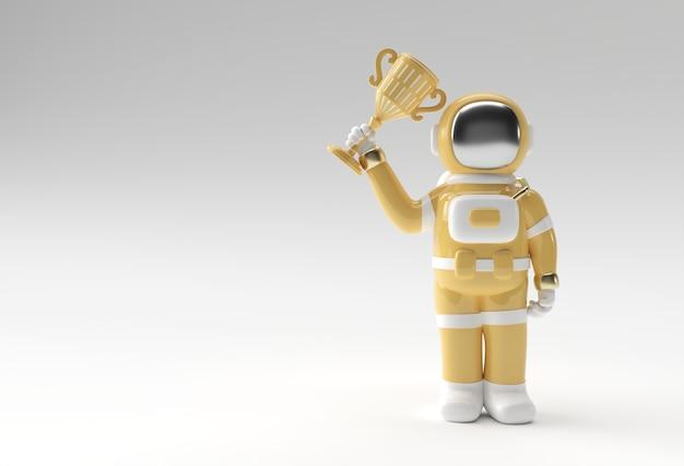 Succesvolle astronaut kreeg de eerste prijs trofee 3d-rendering.