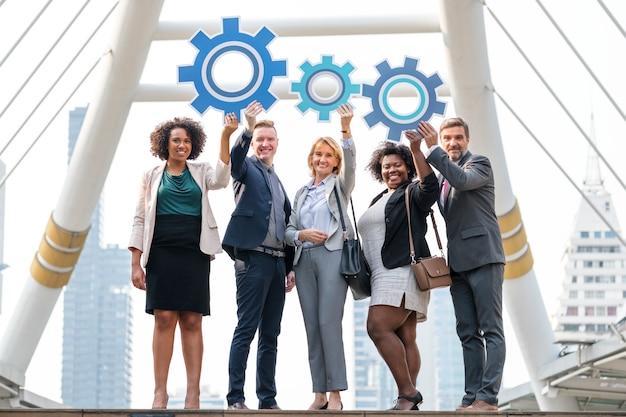 Succesvolle bedrijfsmensen met strategieën