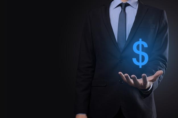 Succesvolle internationale financiële symbool sinvestment concept met zakenman man persoon greep die groei, grafieken en dollarteken, digitale technologie toont.