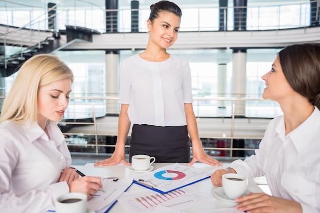 Succesvolle marketoloog die nieuw businessplan voorstelt.