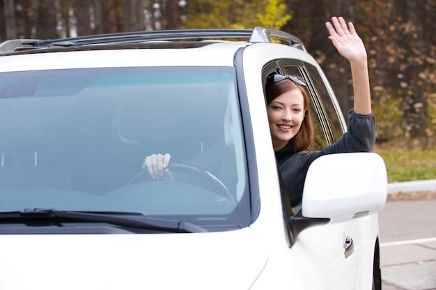 Succesvolle mooie jonge gelukkige vrouw in nieuwe auto - buitenshuis