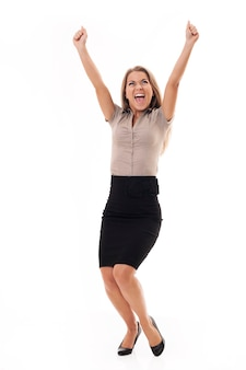 Succesvolle onderneemster die de overwinning viert