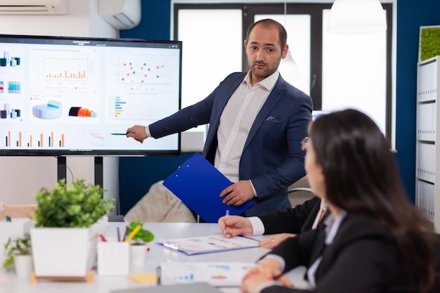 Succesvolle teamleider briefing wijzend project uitleggend in vergaderruimte brainstormen