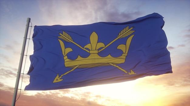 Suffolk vlag, engeland, zwaaien in de wind, lucht en zon achtergrond. 3d-rendering