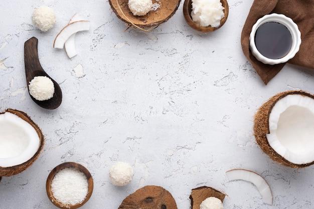 Suikervrij snoep met kokos plat gelegd