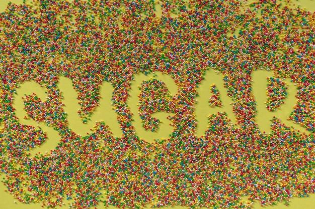 Suikerwoord geschreven in hagelslag