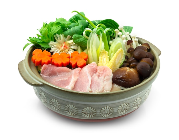 Sukiyaki japanese pork hot pot dish served vegetables