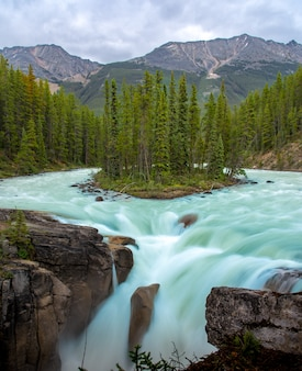 Sunwapta falls met blauw water stroomt in de lente, alberta, canada