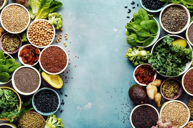 Super eten vegetarisch eten bovenaanzicht copyspace
