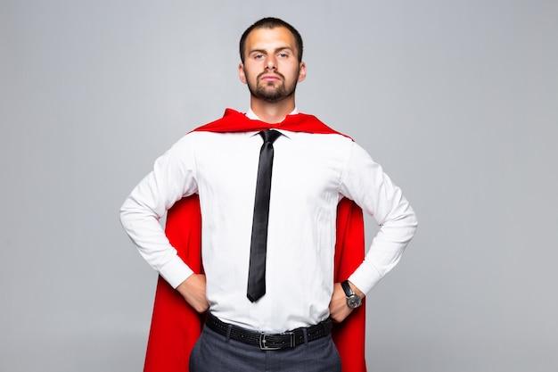 Super held zakenman geïsoleerd op een witte achtergrond