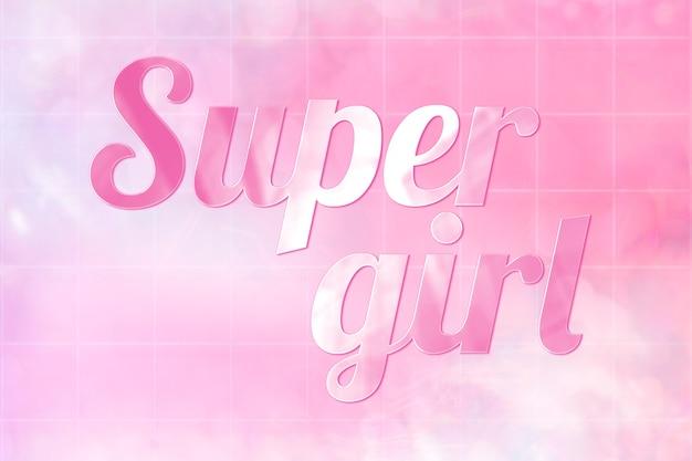Super meisje esthetische tekst in schattig glanzend roze lettertype
