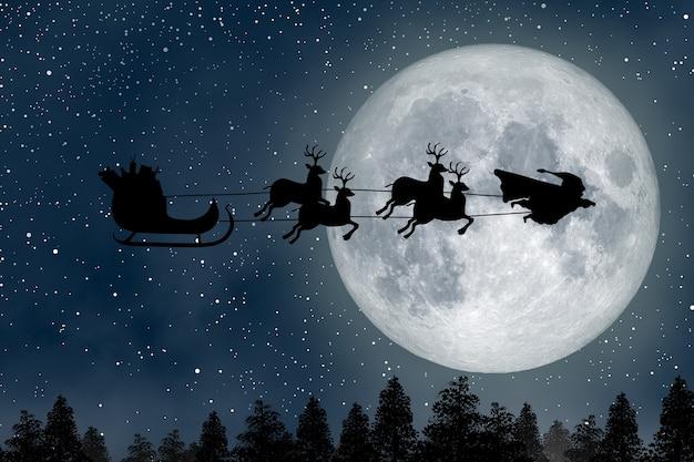 Super santa claus man een superheld die 's nachts over de volle maan vliegt en rendieren leidt