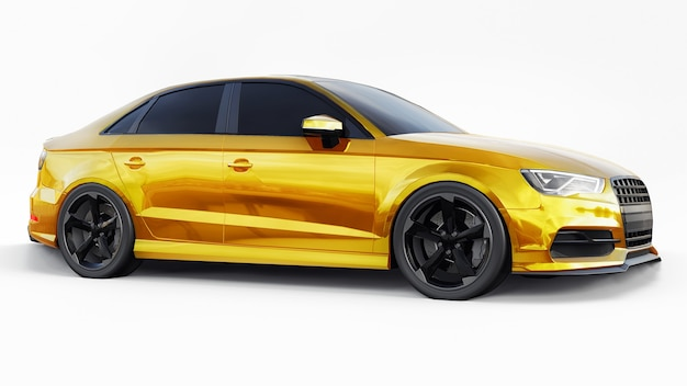 Super snelle sportwagen gele kleur op een witte achtergrond carrosserievorm sedan 3d illustratie