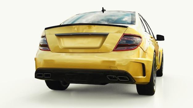 Super snelle sportwagen kleur goud metallic op een witte achtergrond. carrosserievorm sedan. tuning is een versie van een gewone gezinsauto. 3d-rendering.