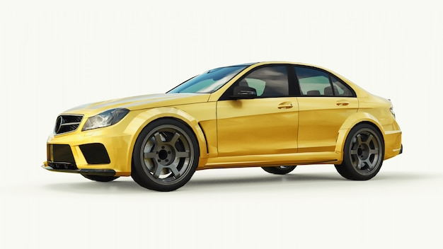 Super snelle sportwagen kleur goud metallic op wit