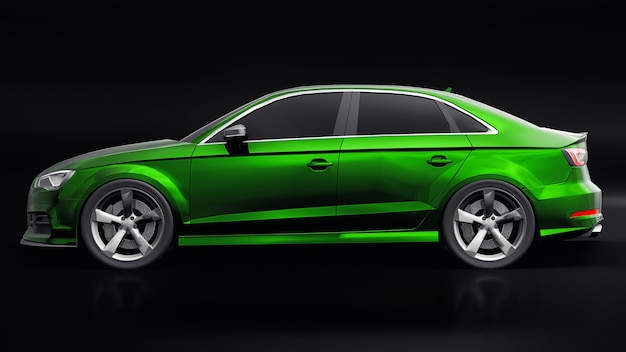 Super snelle sportwagen kleur groen metallic op een zwarte achtergrond. carrosserievorm sedan. tuning is een versie van een gewone gezinsauto. 3d-rendering.
