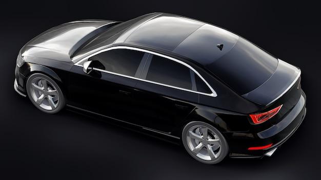 Super snelle sportwagen kleur zwart metallic op een zwarte achtergrond. carrosserievorm sedan. tuning is een versie van een gewone gezinsauto. 3d-rendering.