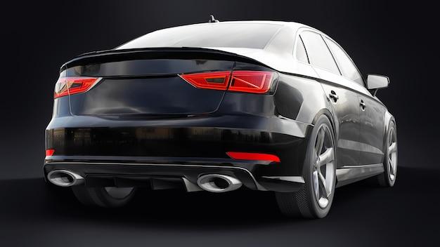 Super snelle sportwagen kleur zwart metallic op zwarte achtergrond 3d-rendering