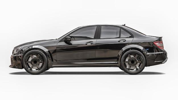 Super snelle sportwagen zwarte kleur op een witte achtergrond. carrosserievorm sedan. tuning is een versie van een gewone gezinsauto. 3d-rendering.