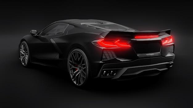 Super sportwagen op een zwarte achtergrond... 3d illustratie.