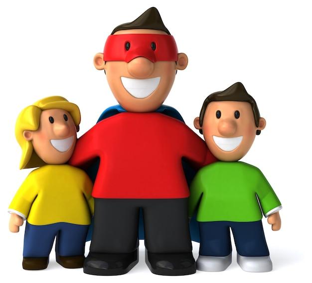 Super vader en zijn zonen 3d illustratie