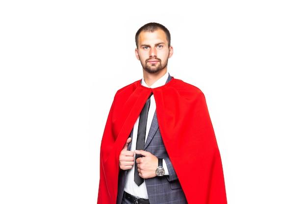 Super zakenman status geïsoleerd op de witte achtergrond