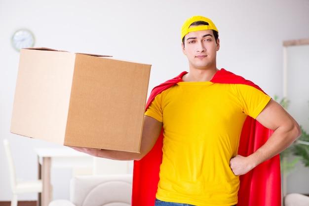Superheld bezorger met doos