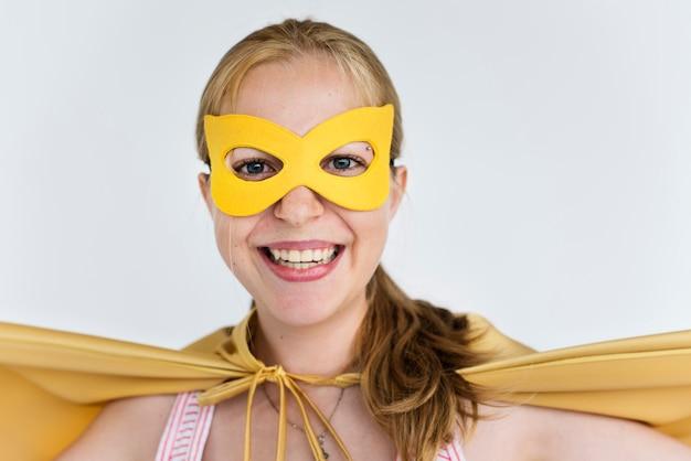 Superheld kostuum plezier concept