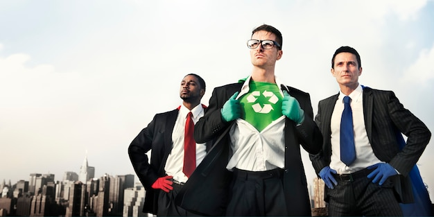 Superheroes green business recycle conservation concept