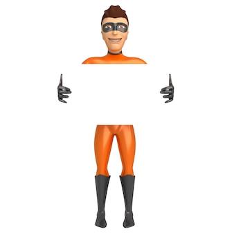 Superherokarakter in oranje kostuum die een witte affiche 3d illustratie houden