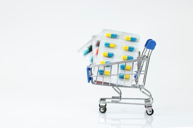 Supermarkt winkelwagen drogist geneeskunde pil tablet