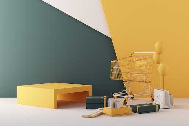 Supermarkt winkelwagentje omgeven door geschenkdoos en geometrische vorm op groene en gele achtergrond. 3d-rendering