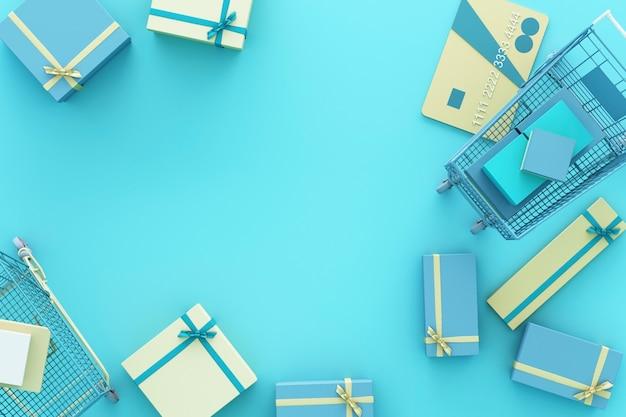 Supermarkt winkelwagentje omgeven door geschenkdoos met creditcard op blauwe achtergrond. 3d-weergave