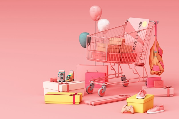 Supermarktboodschappenwagentje het omringen door giftbox met creditcard het 3d teruggeven