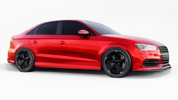 Supersnelle sportwagen kleur rood metallic op een witte ondergrond
