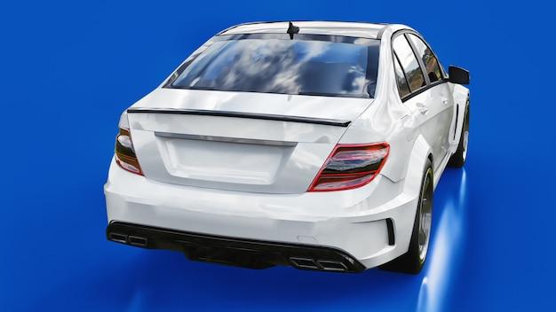 Supersnelle witte sportwagen op een blauwe ondergrond