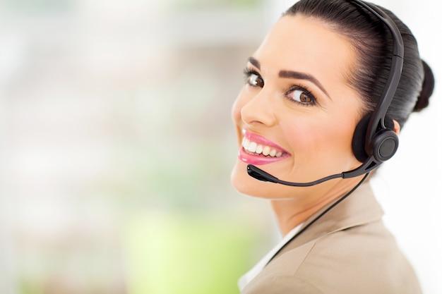Support center operator met headset