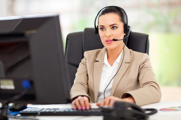 Support center operator met headset