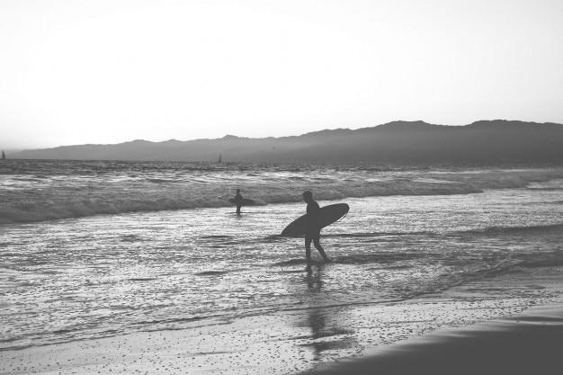 Surfers in de wal