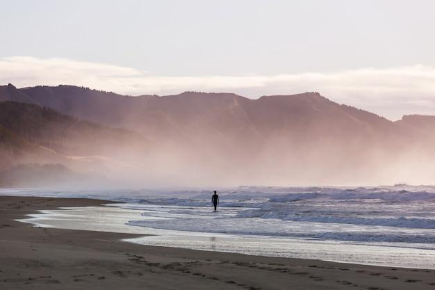 Surfers op oceaanstrand in nieuw-zeeland