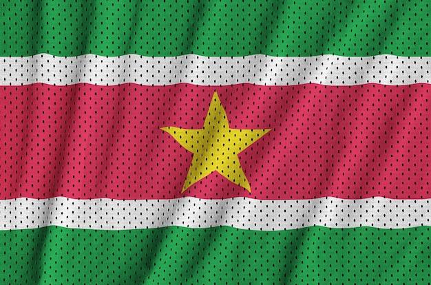 Surinaamse vlag gedrukt op een polyester nylon gaas