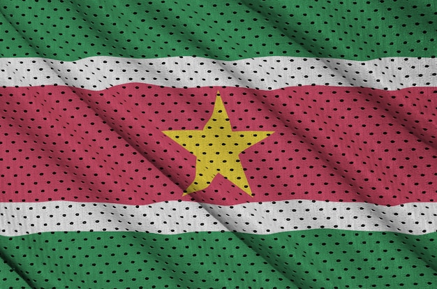 Suriname vlag gedrukt op een polyester nylon sportkleding mesh stof