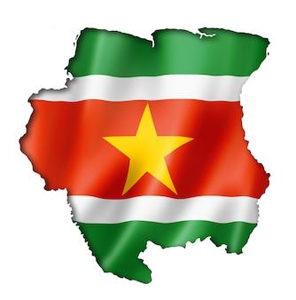 Suriname vlag kaart
